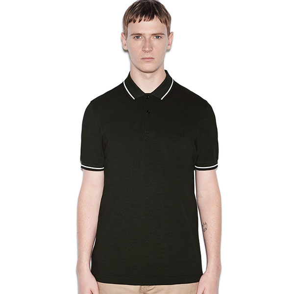 1a85c392 Fred Perry Polo Shirt- Hunting Green Black Oxford