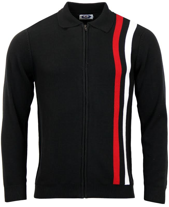 Speedway Zip Up Cardigan by Madcap England - in black