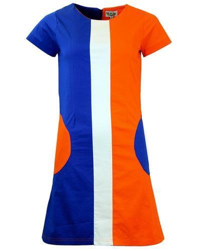 Honey Mod Mini Dress by Madcap England - in Orange & Blue - SALE sz L only