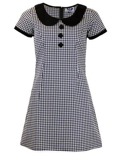 Dollieocker Mod Mini Dress by Madcap England - in Black & White Dogtooth
