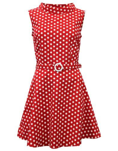 Minnie Retro Mod 60's Polka Dot Mini Dress by Madcap England - in Red & White - SALE
