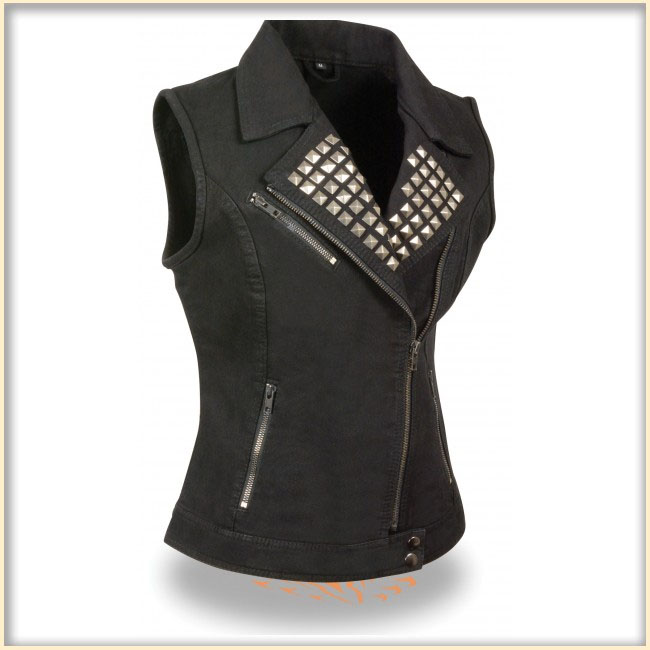 Ladies Studded Denim Biker Vest by Milwaukee Leather- BLACK