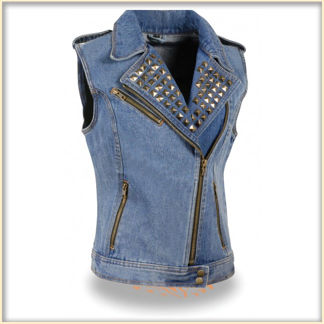 Ladies Studded Denim Biker Vest by Milwaukee Leather- BLUE