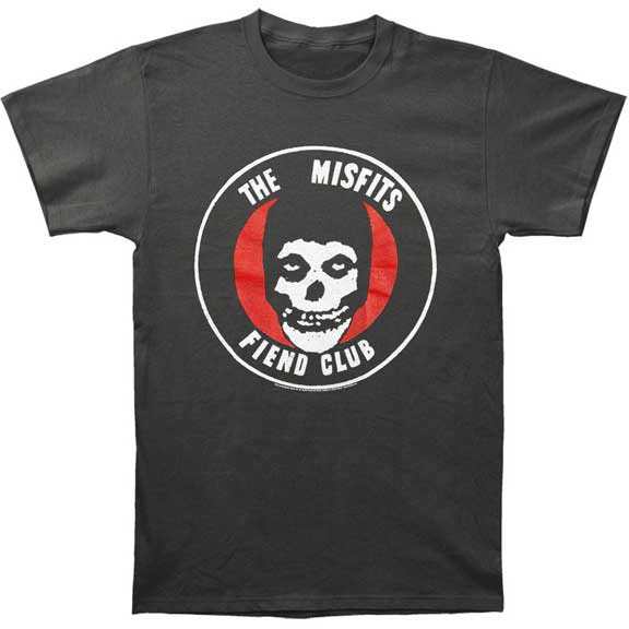 Misfits- Fiend Club (Red & White) on a vintage black slim fit shirt