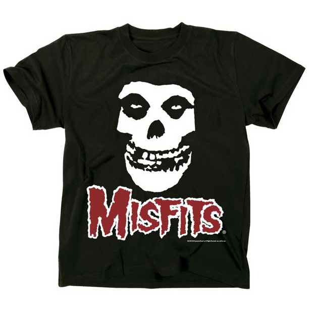 Misfits- Skull With Red Logo Underneath on a black ringspun cotton shirt
