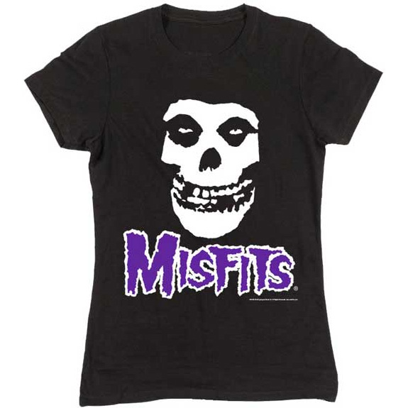 Misfits- Skull & Purple Logo on a black girls fitted shirt