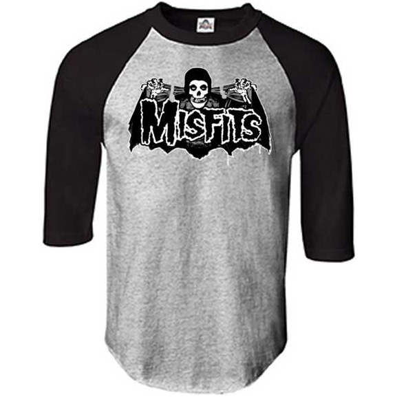 Misfits- Batfiend on a charcoal/black 3/4 sleeve shirt