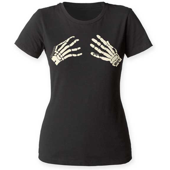 Misfits- Discharge Print Skeleton Hands (Logo on hand) on a black girls fitted shirt (Sale price!)