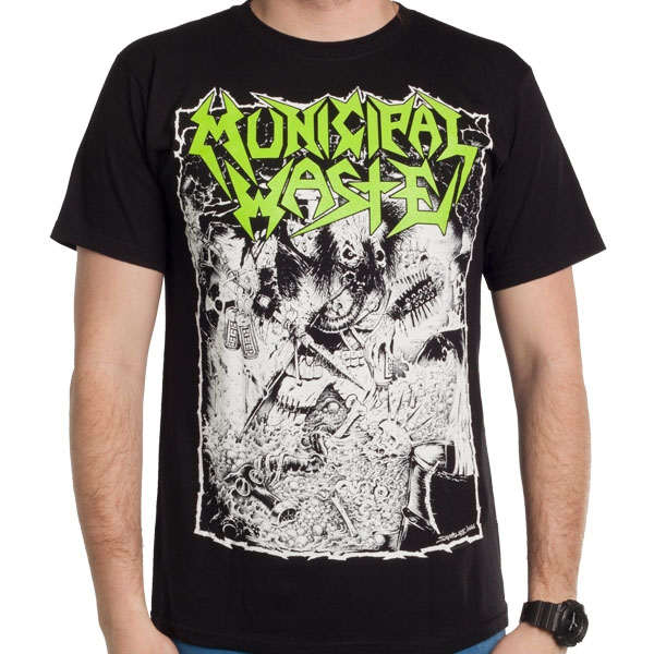 Municipal Waste- Waste Hunter on front, Logo on back on a black shirt