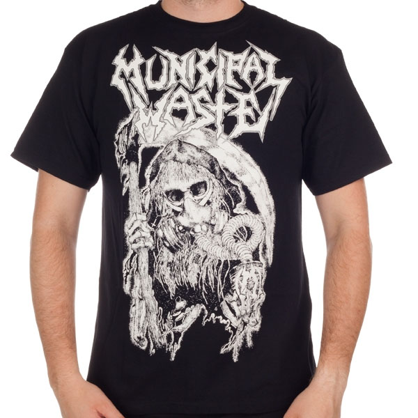 Municipal Waste- Reaper on front, Unholy Abductor on back on a black shirt