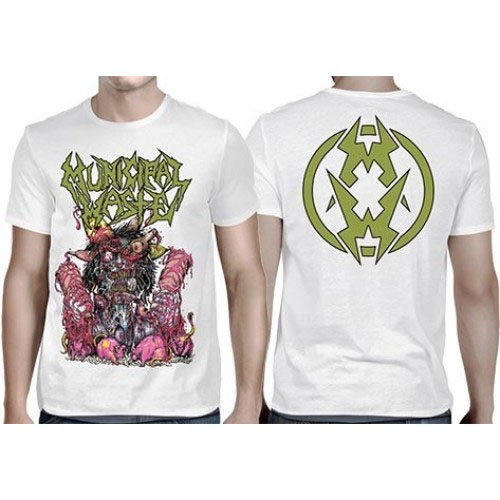 Municipal Waste- Rat on front, Symbol on back on a white shirt