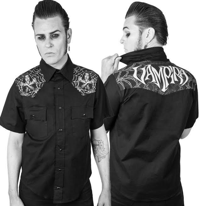 Vampira Cob-West short sleeve button up Western shirt by Kreepsville 666 - SALE