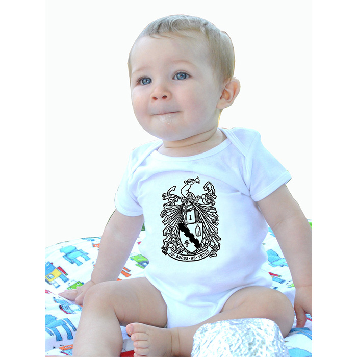 In Boobs We Trust baby onesy by Lucky Mule (S: 3-6 mo, M: 6-12 mo, L: 12-18 mo, XL: 18-24 mo) (Sale price!)