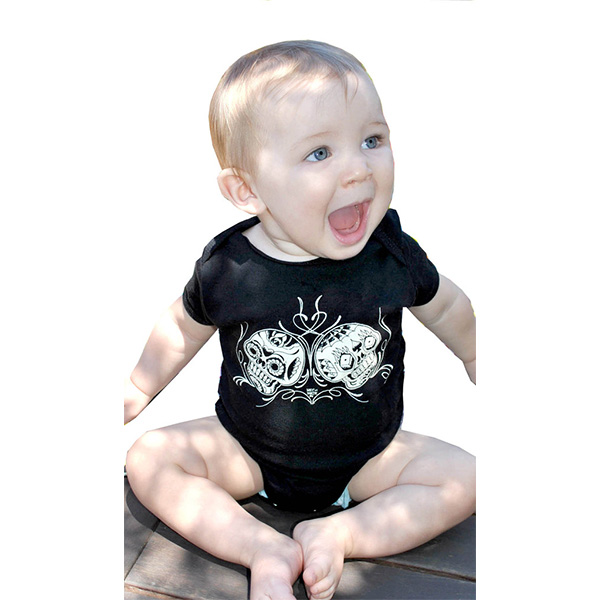 Day Of The Dead Skulls on a black onesie by Lucky Mule (S: 3-6 mo, M: 6-12 mo, L: 12-18 mo, XL: 18-24m) (Sale price!)