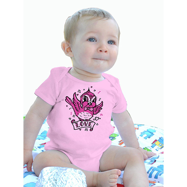 Love Bird on a pink onesie by Lucky Mule (S: 3-6 mo, M: 6-12 mo, L: 12-18 mo, XL: 18-24m)