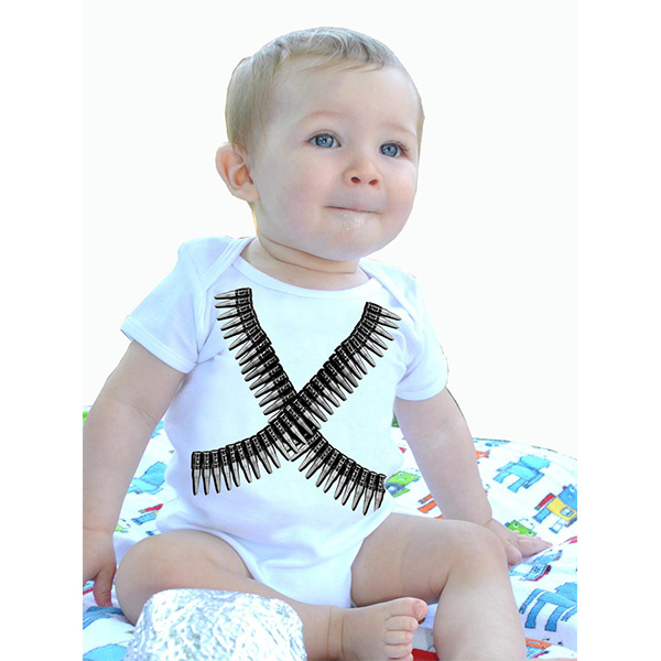 Bullets on a white baby onesy by Lucky Mule (S: 3-6 mo, M: 6-12 mo, L: 12-18 mo, XL: 18-24m) (Sale price!)