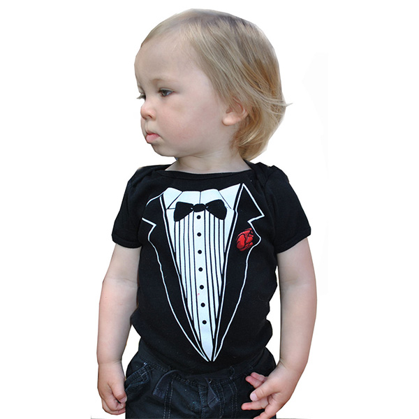 Tuxedo on a black baby onesie by Lucky Mule (Sale price!)