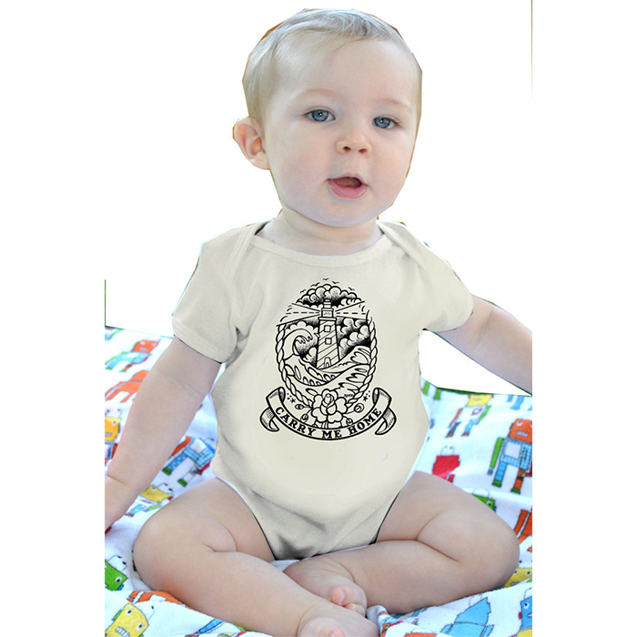 Carry Me Home on a natural onesie by Lucky Mule (S: 3-6 mo, M: 6-12 mo, L: 12-18 mo, XL: 18-24m)