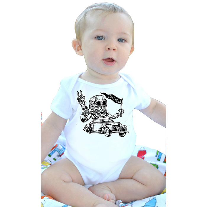 Day Of The Dead Car on a white onesie by Lucky Mule (Sale price!)