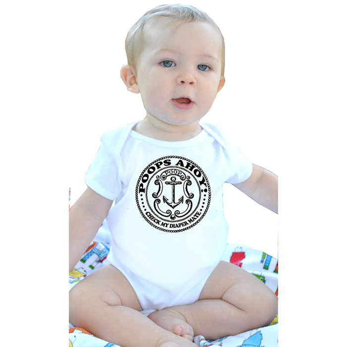 Poops Ahoy! on a white baby onesie by Lucky Mule - SALE 24 month only