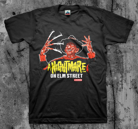 Nightmare On Elm Street- Nintendo Freddy on a black shirt