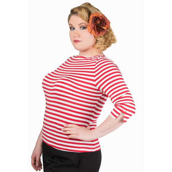 Modern Lovers Plus Size Red & White Striped Top by Banned Apparel - SALE