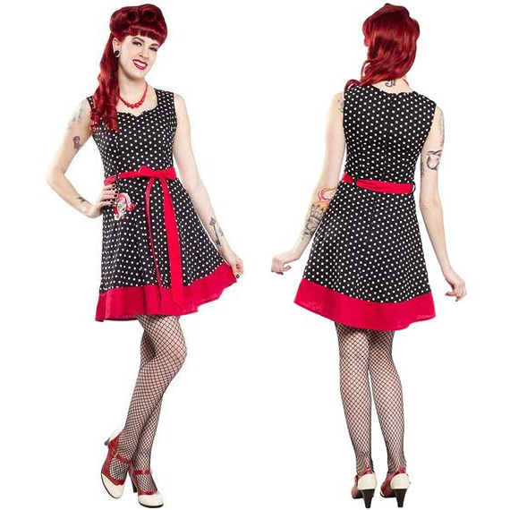 Classic Polka Dot Zombie Dress By Paper Doll - SALE sz M only
