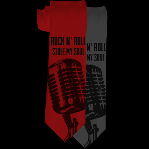 Rock N Roll Stole My Soul Tie by Se7en Deadly - in Charcoal