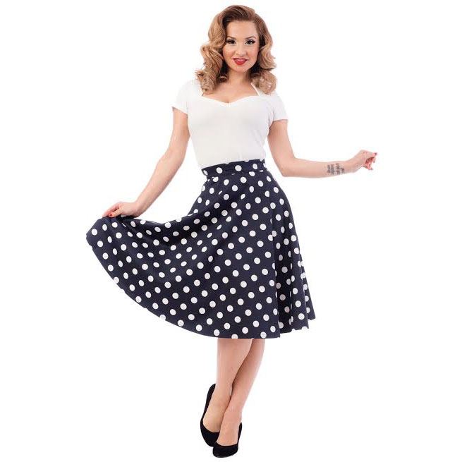Blue & White Polka Dot Thrills High Waisted Skirt By Steady Clothing - SALE sz 1X & 4X only