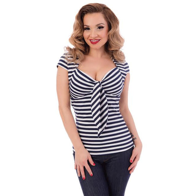 Striped Sweetheart Tie Top by Steady- Blue & White - SALE sz 3X only