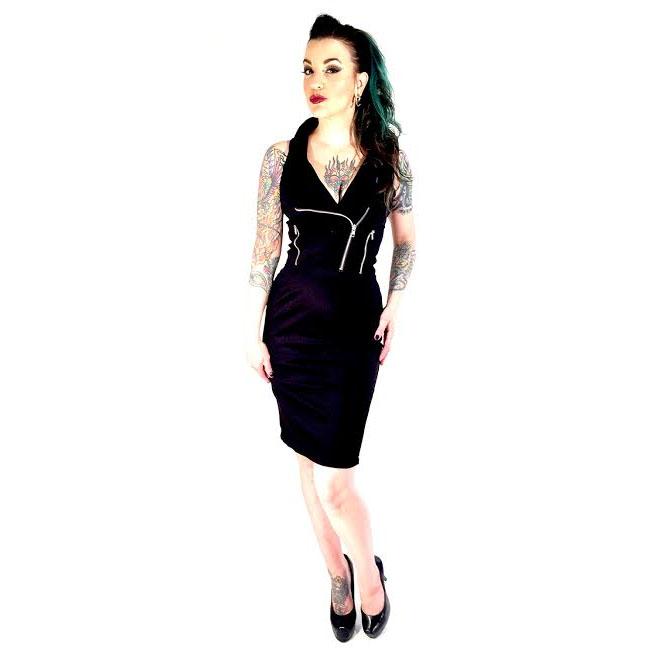 Black Moto Zipper Dress by Switchblade Stiletto - SALE sz L & XL only
