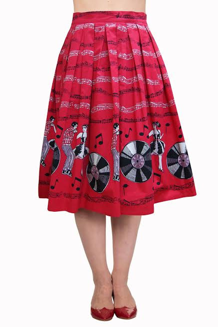 Plus Size - Empower Empire State Record Lovers 50's Skirt by Banned Apparel - SALE sz 3X only