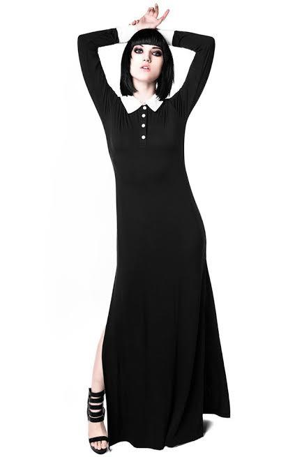 Cemetary Lane Long Sleeve Maxi Dress by Killstar - in black - SALE sz XS & L only