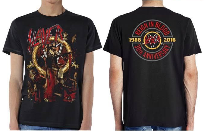 Slayer- Pentagram Goat on front, Reign In Blood 30th Anniversary on back on a black shirt (Ltd Ed 30th Anniversary T!)