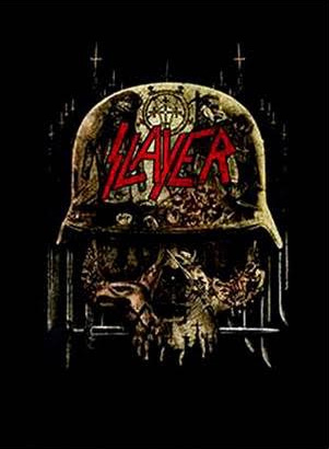 Slayer- Skull Collage on a black shirt