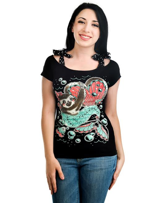 Annabel Bow Girls Top by Too Fast Clothing/Banjo & Cake - Mermaid Sloth - SALE sz XL only