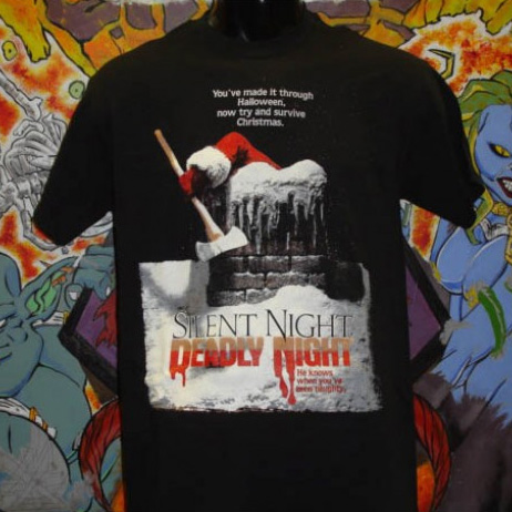 Silent Night Deadly Night- Try And Survive Christmas on a black shirt