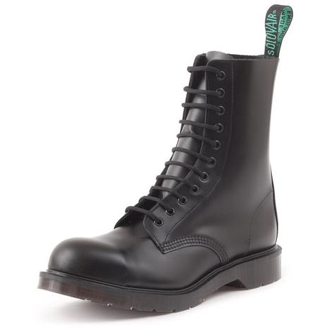 Highlander 11 Eye Steel Toe Boot in BLACK by Solovair (Made In England!)