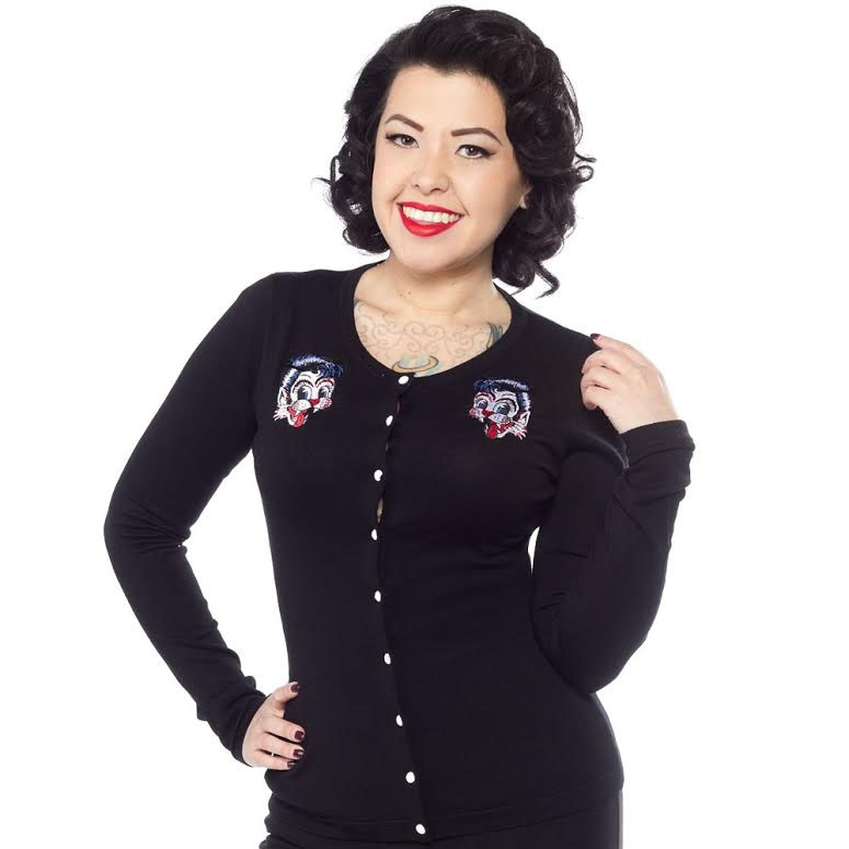 Stray Cats Cardigan in Black by Sourpuss - SALE