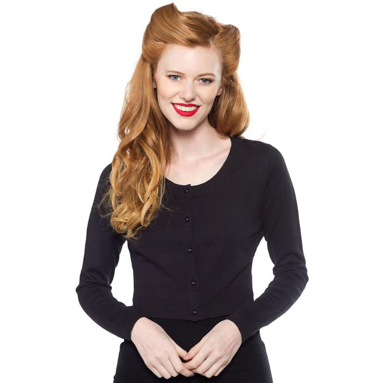 Long Sleeve Pointelle Cardigan by Sourpuss - in Black