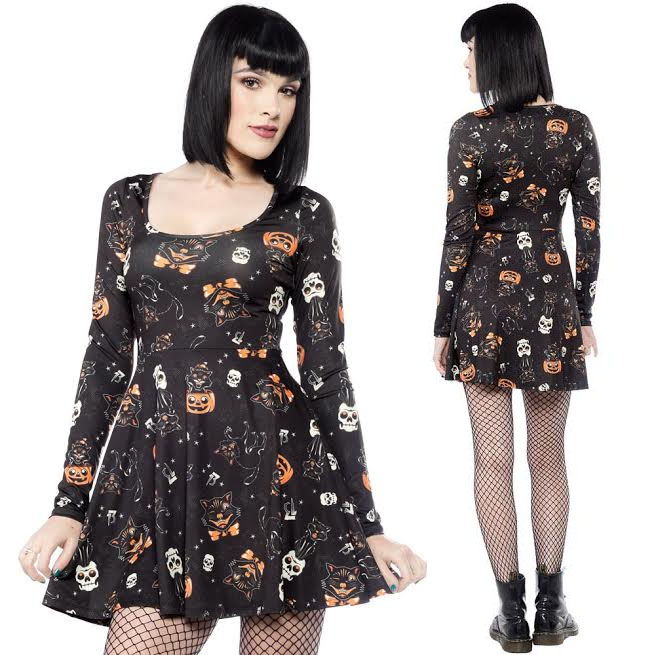 Black Cats Skater Dress by Sourpuss - in Black