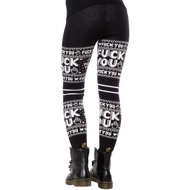 F You Sweater Leggings by Sourpuss - sz 2X only - SALE