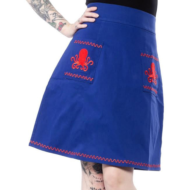 Tentacles Pencil Skirt by Sourpuss - in black sz S & 2X only