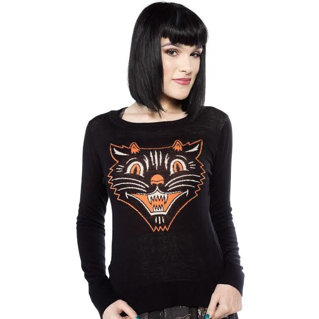 Cat Fur Sweater: Lucy Fur Vintage Halloween Cat Sweater By Sourpuss