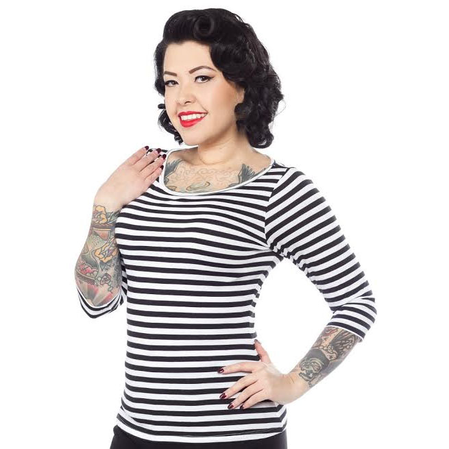 Audrey Striped Top by Sourpuss in Black & White