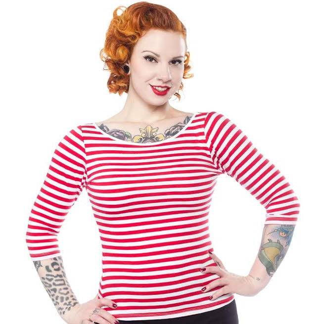 Audrey Striped Top by Sourpuss in Red & White - SALE sz 3X only