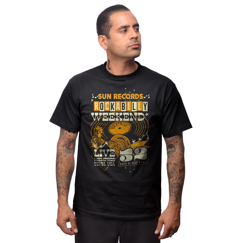 Sun Records- Rockabilly Weekend on a black shirt by Steady Clothing