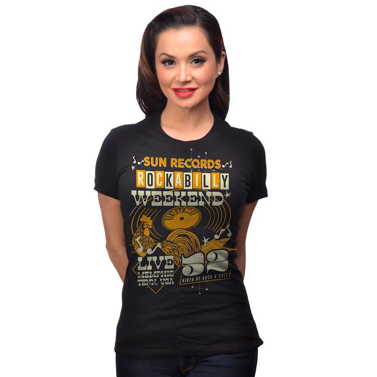 Sun Records- Weekender on a black girls fitted shirt by Steady Clothing