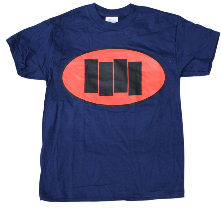 Black Flag- Oval with Bars on a NAVY shirt