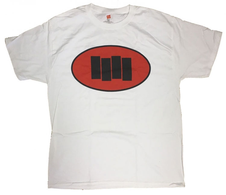 Black Flag- Oval with Bars on a white shirt
